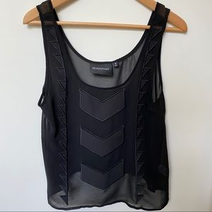 MINKPINK Black Chevron Sheer Cami Sleeveless Top